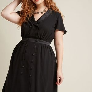 Modcloth Tuxedo Dress with Flutter Sleeves 2X